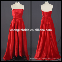 Real Photos Strapless Velvet Red Evening Dress High Low Ball Gown