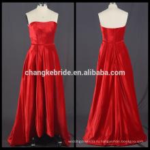 Реальные Фото Без Бретелек Бархат Красный Вечернее Платье Высокая Низкая Бальное Платье