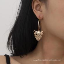 Fashion Jewelry Geometric Alloy Earrings Retro Simple Leopard Head Earrings