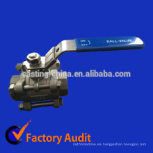 fundición 304/316/321 / agua / gas / aceite válvula de bola de acero inoxidable 3 piezas
