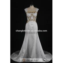 Real Mermaid Wedding Dress Golden Beading Satin Bridal Gown 2017