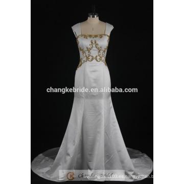 Vestido de Novia de Sirena Real de Oro rebordear Satén vestido de novia 2017