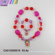 Dulces cuentas de plástico lindo collar de joyas para niños