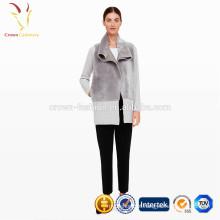 Gola xale Atacado Mulheres Long Cardigan 2016 Fur Trim Cardigan Sweater
