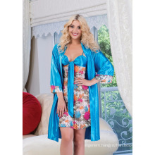 Lace Babydoll and Robe Floral Printed