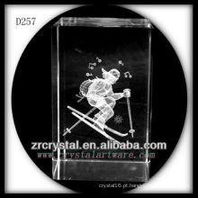 K9 3D Laser Gravado Esqui Dentro Retângulo De Cristal