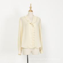 Langarm V-Ausschnitt Kragen Frauen Casual Bluse Shirt
