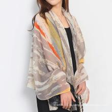 Lady Fashion Streifen gedruckt Baumwolle Seidenschal (YKY1138)