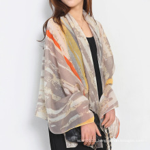 Lady Fashion Stripe Printed Cotton Silk Scarf (YKY1138)