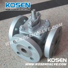 Cast Steel Flanged 3-Way Soft Sealing Plug Valves (X44F)