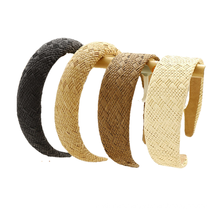 Bandeau Opaska Straw Braid Solid Sponge Designer Headband for Women Girl Fashion Hair Accessories Handmade Plain Hairband Wholesale