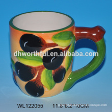 2016 new style ceramic mug with olive pattern with handle