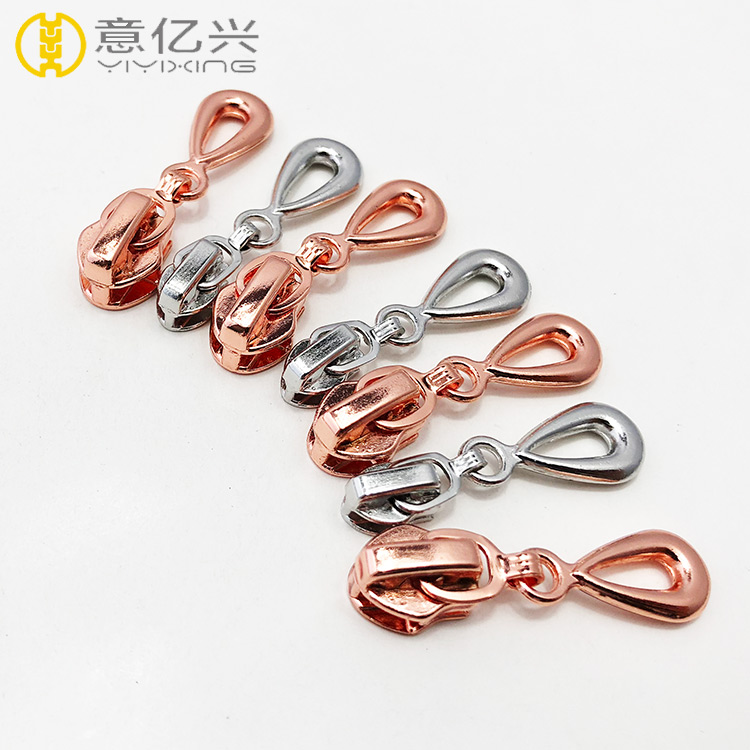 rose gold metal zipper slider