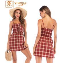 Vestido corto de tirantes a cuadros de verano Vestido corto de encaje sin espalda