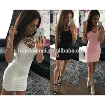 Ebaby aliexpress hot sell woman dress solid color low-breasted round neck sleeveless package hip sexy night dress for women