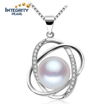 Freshwater Fashion Pearl Pendant Necklace 10-11mm AAA Semi Round 925 Silver White Pearl Pendant