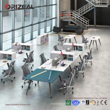 Bureau ouvert du personnel en aluminium jambes bureau table 4 personnes poste de travail