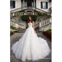 Vestido de noiva nupcial de marfim sem alças Applique