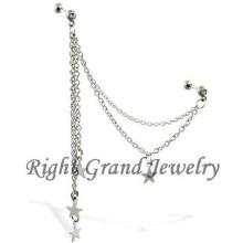 16 G barra de cristal cadena estrellas oreja Piercing joyas Tragus