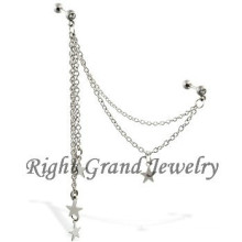 16 G cristal Barbell étoiles chaîne Tragus oreille bijoux Piercing