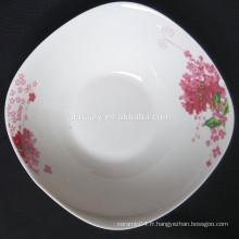 populaire vente chaude plaque de fruits en porcelaine carrée, plaque profonde