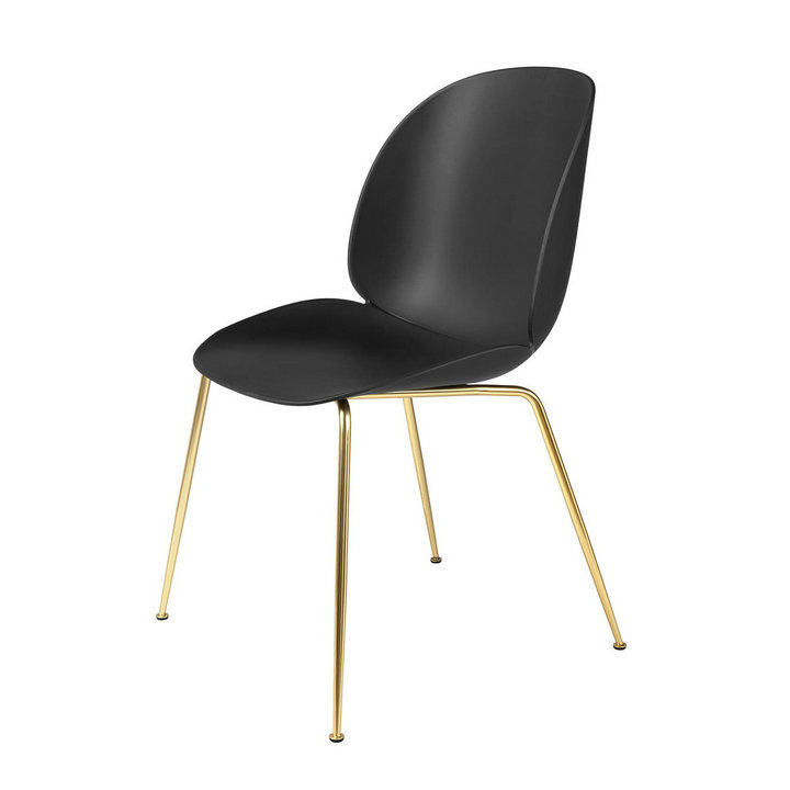 plastic beetle chair in brass leg