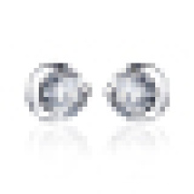 Women′s Fashion Personality 925 Sterling Silver Moon-Shaped Crystal Earrings