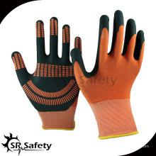15-дюймовые трикотажные нейлоновые и спандекс покрытые черными высокотехнологичными ниппельными перчатками, оранжевые нитриловые точки на ладони