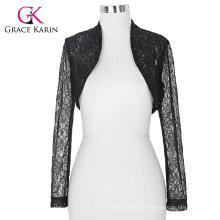Stock Womens Ladies Long Sleeve Cropped Black Lace Shrug Bolero BP000049-1