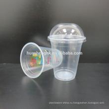 Высококачественные пищевые прозрачные пластиковые одноразовые 14oz / 420мл чашки смузи с крышками для оптовой продажи