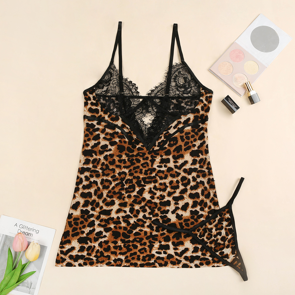Leopard Babydoll With Thong