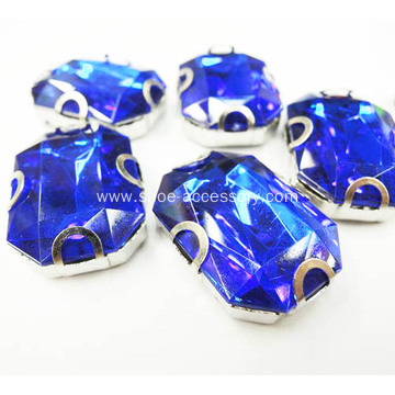 Rectangle Shape Sapphire Stones Sew on