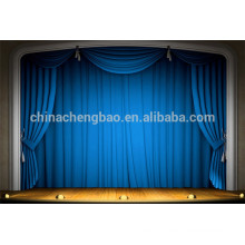 China fire retardant motorized stage curtain with blue color