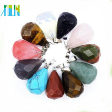 Jewelry carving gemstone faceted drop shape agate stone pendant