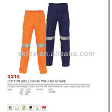 Cotton Drill Work Pants with Reflective