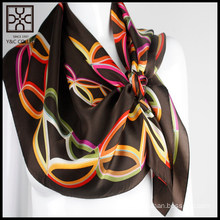 2015 Fashion Dark Brown Square Printed Silk Scarf