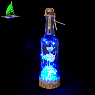 Nueva botella de vidrio de Navidad de diseño con luces led