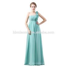 Em estoque sem mangas longo elegante vestido de comprimento total mangas azul vestido de noite de chiffon
