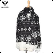Moda floco de neve padrão impresso cachecol com franjas
