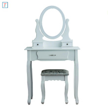 White Dressing Table 3-Drawer Makeup Dresser Set with Stool Oval Mirror