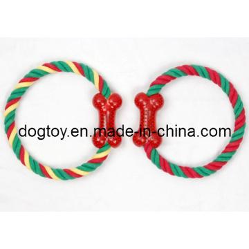 Резиновая кость с разноцветной веревкой для домашних животных