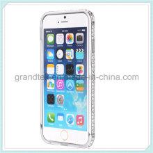Luxo Dimond Design Bling Cristal Diamante Rhinestone Bumper Case para iPhone6