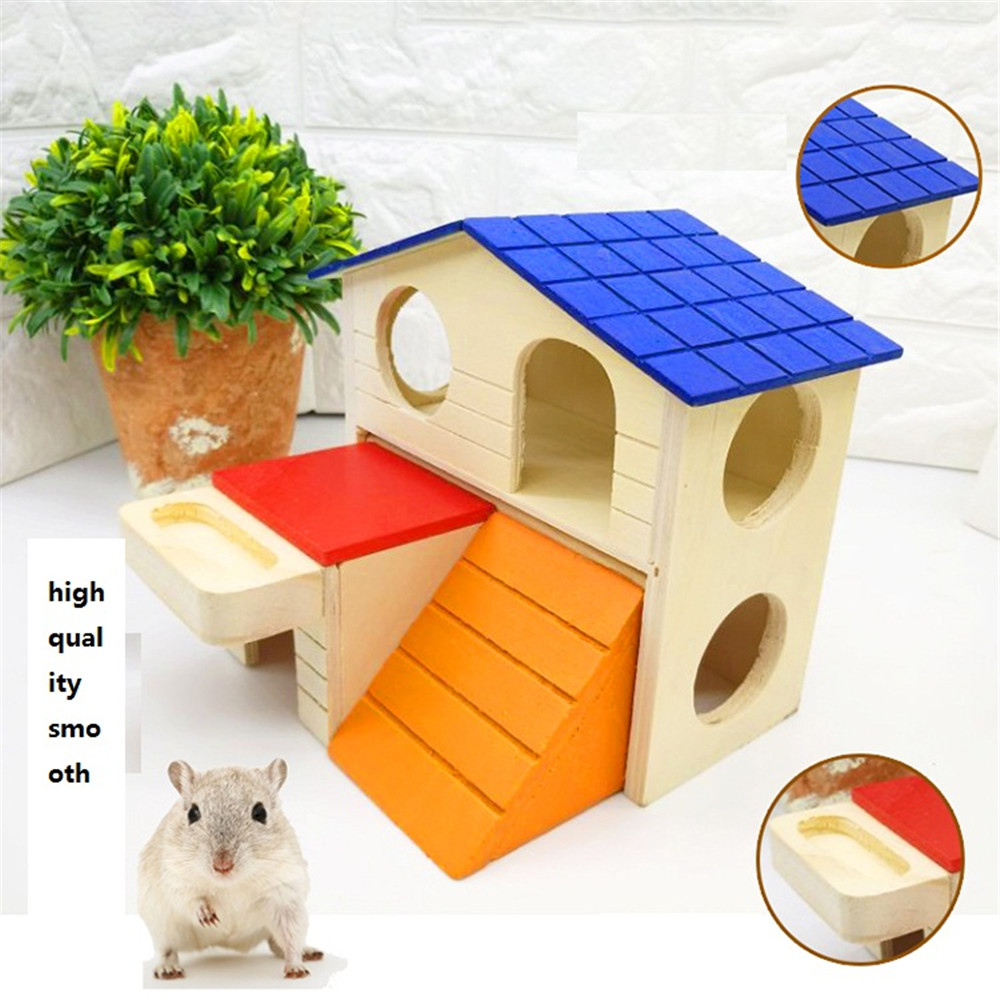 lovely wooden mouse house with stair