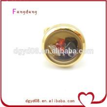Dongguan moda atacado medalhão encantos anel / anel de aço inoxidável