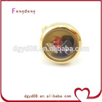Dongguan mode gros médaillon charmes anneau / anneau en acier inoxydable