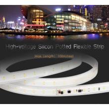 Iluminação de tira flexível em linha do diodo emissor de luz da colagem do plutônio da alta tensão 2835 50 medidores com Ce RoHS
