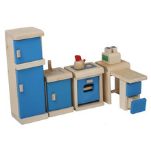 Wooden Mini Furniture Toys Blue Kitchen Pretend Play Toy YT1113
