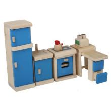 Mini brinquedos de madeira brinquedos Blue Kitchen Pretend Play Toy YT1113