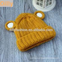 Latest Baby Crochet Imitate Animal Cap Ear Design Chapéu Padrão de confecção de malhas Kids Warm Wool Knit Hats & Caps Beanie