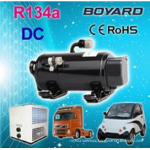 DC compressor for tractor trailer cabin air conditioning independent of main engine electric ac system